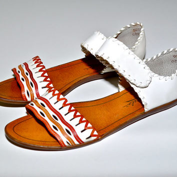 Make an Offer BRAZILIAN 1980s Bohemian Ethnic Native Strappy SANDALS Flats Ladies sz 6.5 So Sexy Made in Brazil
