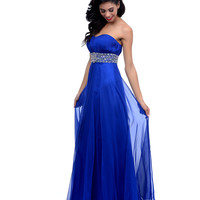 2014 Prom Dresses - Royal Blue Beaded Chiffon Pleated Strapless Sweetheart Long Dress
