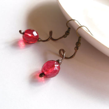 Wire jewelry, contemporary jewelry, wire earrings, fuchsia earrings, glass beads jewelry, pink earrings, metalwork, Twisted