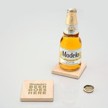 Natural Wood Coaster with Built-in Bottle Opener - Beer Goes Here Etching (Pack of 1)