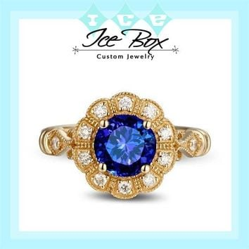 Cultured Ceylon Blue Sapphire Engagement Ring 1.6ct, 6.5mm Round Cultured Sapphire set in a 14k Yellow Gold Diamond Halo Setting