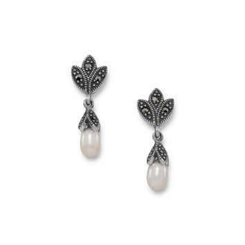 Marcasite and Cultured Freshwater Pearl Earrings