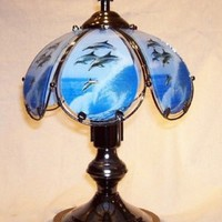 Dolphins Above The Waves Small Touch Lamp