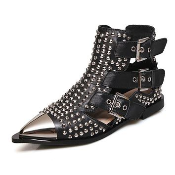 Metal Studded Rivets Pointy Toe Buckle Straps Ankle Boots