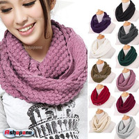 Warm Cable Knit Neck Circle Wool Scarf