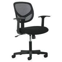 """Basyx by HON Fixed Arms Mid-back Task Chair - Black Seat - Fabric Back - 5-star Base - 18"""" Seat Width x 18"""" Seat Depth - 24.2"""" Width x 24.4"""" Depth x 38.3"""" Height Item # 258755"""