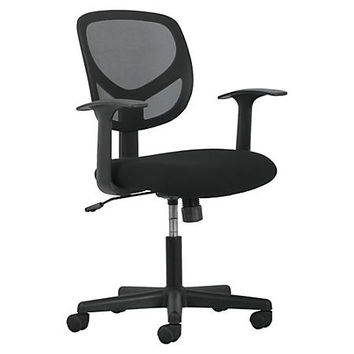 "Basyx by HON Fixed Arms Mid-back Task Chair - Black Seat - Fabric Back - 5-star Base - 18"" Seat Width x 18"" Seat Depth - 24.2"" Width x 24.4"" Depth x 38.3"" Height Item # 258755"