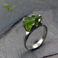 Raw Rough Peridot Cocktail Ring Rustic Sterling Silver recycled Stacking Ring