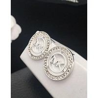 MK Stylish Women Hollow Round Type Water Drill Temperament Earrings Jewelry Silvery I12227-1
