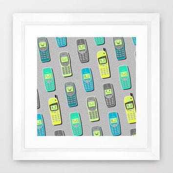 Vintage Cellphone Pattern Framed Art Print by Chobopop