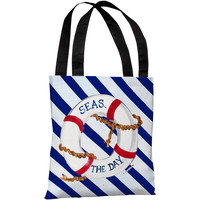 """""""Seas the Day"""" 18""""x18"""" Tote Bag by Timree Gold"""