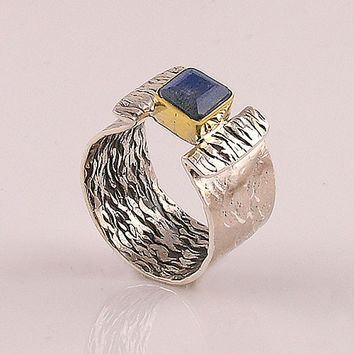 Labradorite Two Tone Sterling Silver Ring