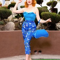 High Waisted Cropped Trousers in 1960s Print