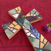 Purple Teal Mosaic Wall Cross, Stained Glass Purple Cross Hanging, Cross Wall Decor, Mosaic Baptism Wall Cross , Unique Cross Hanging