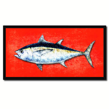 Blackfin Tuna Fish Red Canvas Print Picture Frame Gifts Home Decor Nautical Wall Art