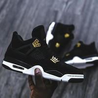 Fashion Online (with Box) Aaa+ Quality Air Jordan Retro 4 Iv Royalty Men Basketball Shoes Suede Black Gold Retro 4s Athletic Sports Shoes Sneakers Size 41-47