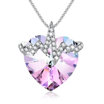 """Heartbeat"" Purple Pink Crystal Pendant Necklace Angelady Gifts for Wife Love Girlfriend, Crystal from Swarovski"