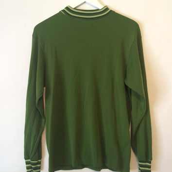 Vintage 60s AKOM Sportswear Green Turtleneck Sweater Size Large