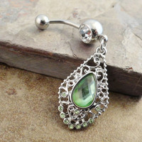 Vintage Peridot Gem Dangle Belly Button Ring Jewelry