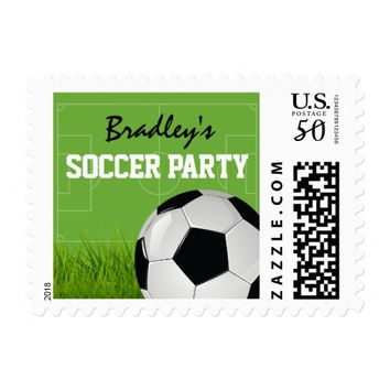 Childrens Soccer Themed Football Birthday Party Postage