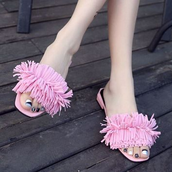 2017 summer slippers women tassel slides outdoor slippers summer sandals low heel slippers