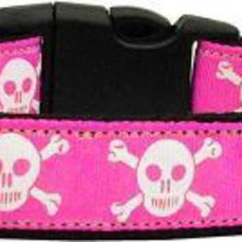 Pink Skulls Dog Collar Medium
