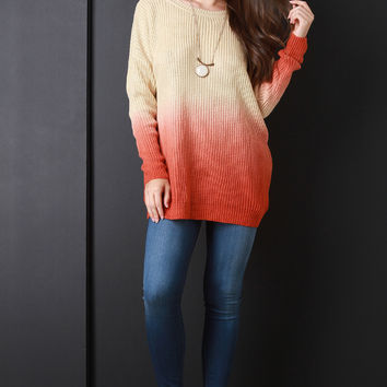 Ombre V-Back Knitted Sweater