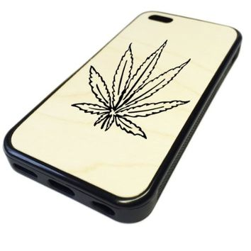 For Apple iPhone 5C REAL MAPLE WOOD WOODEN Case Cover Skin Ganja Marijuana Leaf DESIGN BLACK RUBBER SILICONE Teen UNIQUE CUSTOM Gift Vintage Hipster Fashion Design Art Print Cell Phone Accessories