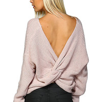 Round Neck Ribbed with Open Back Sweater