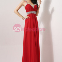 Red Backless Long Prom Pageant Dress Formal Gown Spaghetti Strap
