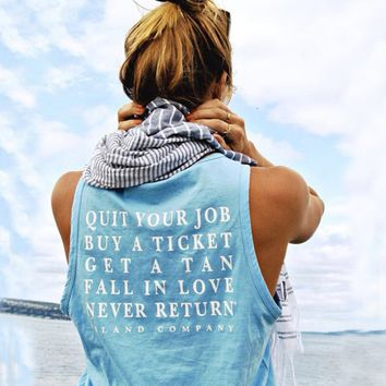 Blue Letter Print Sleeveless Shirt