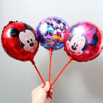 KAMMIAD Mickey Minnie Mouse Balloon With Stick Birthday Party Aluminium Foil Ballons 20pcs/lot 8.5inch Children's Toy Globos