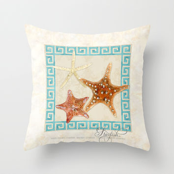 White Finger, Knobby, Orange Cushion Starfish Modern Ocean Shell Beach Striped Throw Pillow by Audrey Jeannes