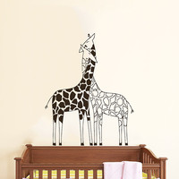 Wall Decals Giraffe Animals Jungle Safari African Childrens Decor Kids Vinyl Sticker Wall Decal Nursery Bedroom Murals Playroom Art SV6057
