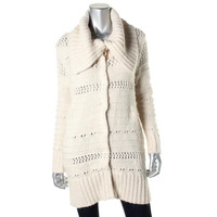 Rachel Rachel Roy Womens Knit Ribbed Trim Sweatercoat