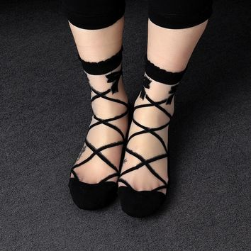 1Pair New Fashion Style Women Lady Socks Bowknot Sheer Mesh Knit Frill Trim Transparent Ankle Socks