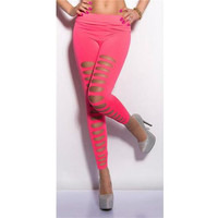 Rosy Two Sides Ripped Opaque Spandex Stirrup  Leggings