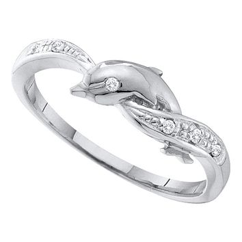 10kt White Gold Women's Round Diamond Dolphin Ring .03 Cttw - FREE Shipping (US/CAN)