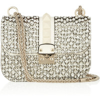 Valentino | Glam Lock crystal-embellished leather shoulder bag | NET-A-PORTER.COM