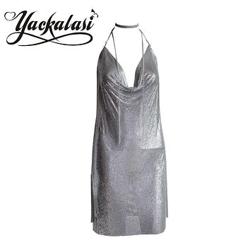 Women Party Dress Silver Metal Mesh  Halter Straps Sexy Deep-V Backless