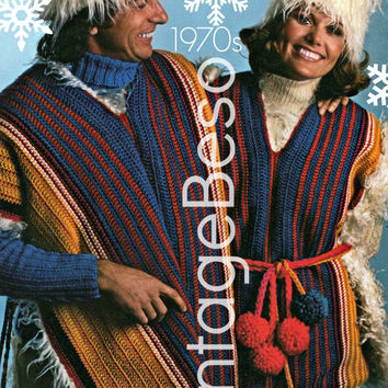 PONCHO Crochet PATTERN Vintage 1970s His Hers Fake Fur Lined Poncho Finland Inspired Retro Poncho Vintage Beso Instant Download PdF Pattern