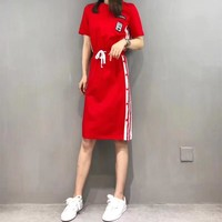 """Adidas"" Women Fashion Casual Multicolor Stripe Drawstring Short Sleeve T-shirt Dress"