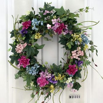 Palette of Pastel Floral Colors Wispy Decorative Door Wreath (24 inch)