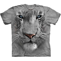 WHITE TIGER FACE T-Shirt by The Mountain Big Head Cat Zoo Animal S-3XL NEW
