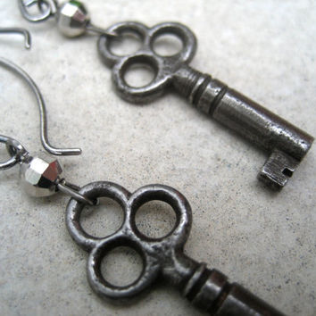 Antique Skeleton Key Earrings - Authentic Keys - Sterling Silver Ear Wires