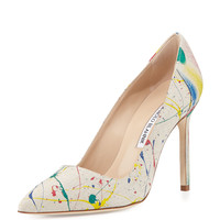 BBMal Splatter Paint Canvas Pump - Manolo Blahnik - Multi colors