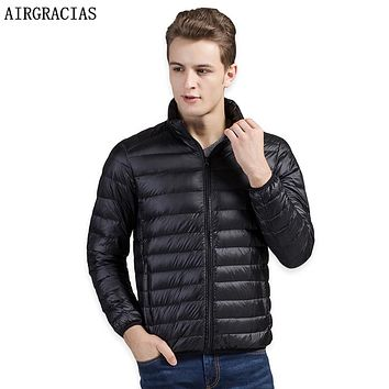 AIRGRACIAS Men Down Coat Lightweight 95% White Duck Down Jacket Winter Thicken Warm Jacket Mens Down Parka Brand Clothing LY008