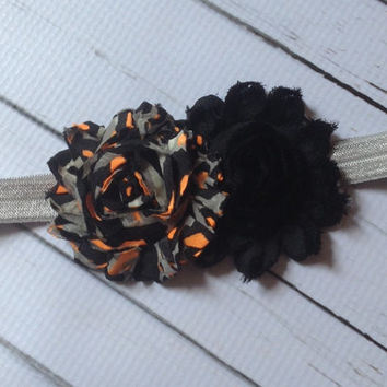 Halloween Headband.... Baby Girl Leopard Halloween Headband...Infant Headbands