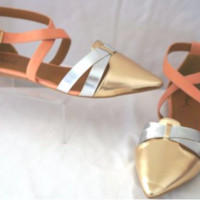 Qupid Pointer-73 Pointed Toe TriTone Ankle Strap Flat-Champagne MPU