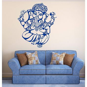 Wall Vinyl Decal Ganesha Hindu God of Wisdom and Prosperity Interior Decor Unique Gift z4540